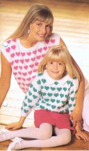 Mother and Daughter Hearts Top and Sweater Knitting Pattern