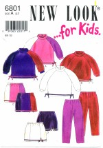 New Look 6801 Sewing Pattern Girls Top Skirt Pants Size 2 - 7
