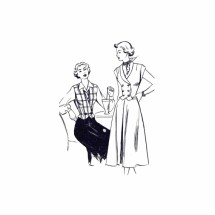 1950s Skirt Weskit Vest New Style 3098 Vintage Sewing Pattern Size 14 Bust 32