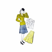 1940s Mises Skirt and Jacket New York 1358 Vintage Sewing Pattern Size 18 Bust 36
