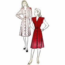 Front Button Princess Dress 1940s New York 868 Vintage Sewing Pattern Size 12 Bust 30