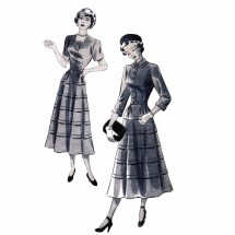 1940s Misses Square Neck Dress New York 392 Vintage Sewing Pattern Size 12 Bust 30