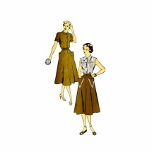 1950s Front Button Dress New York 963 Vintage Sewing Pattern Size 16 Bust 34