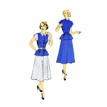 1950s Attractive Two Piece Dress New York 1059 Vintage Sewing Pattern Size 16 Bust 34