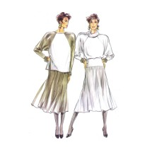 1980s Misses Roll Collar Top and Flared Skirt New Look 6062 Vintage Sewing Pattern Size 8 - 10 - 12 - 14 - 16 - 18