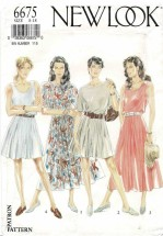 Misses Full Skirt Dress New Look 6675 Vintage Sewing Pattern Size 8 - 10 - 12 - 14 - 16 - 18 UNCUT