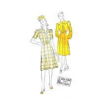 1940s Louise Scott Shirtwaist Dress New York 543 Vintage Sewing Pattern Size 14 Bust 32