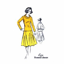 1970s Cowl Neck Top Flared Skirt Eva for Robert Janan Prominent Designer A828 Vintage Sewing Pattern Size 16 Bust 38