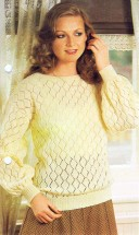 Pullover with All Over Lace Sweater Knitting Pattern