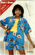 See & Sew 5476 Misses Shirt & Shorts Size 14 - 16 Bust 36 - 38