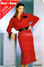 See & Sew 5528 Womens Straight Blouson Dress Vintage Sewing Pattern Size 14 - 16 - 18
