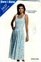 See & Sew 5637 Pullover Dropped Waist Dress Size 6 - Bust 30 1/2