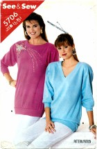 See & Sew 5706 Pullover Top Size 16 - 22