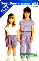 See & Sew 6185 Sewing Pattern Toddler Girls Top Pants Shorts Size 2 - 3 - 4