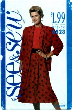 See & Sew 6523 Jacket Top & Skirt Size 16 - 24