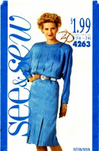 See & Sew 4263 Sewing Pattern Full Figure Dress Size 16 - 24