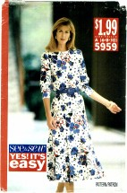 See & Sew 5959 Pullover Dress Size 6 - 10 - Bust 30 1/2 - 32 1/2