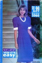 See & Sew 5960 Sewing Pattern Misses Straight Tucked Dress Size 12 - 14 - 16