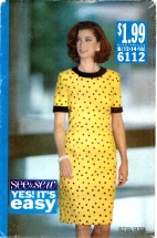 See & Sew 6112 Loose-Fitting Dress Size 12 - 16 - Bust 34 - 38