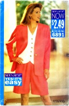 See & Sew 6891 Jacket Top Shorts Size 12 - 16 - Bust 34 - 38