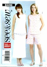 See & Sew 4498 Top Skirt Shorts Size 14 - 18
