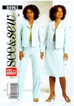 See & Sew 4963 Sewing Pattern Misses Jacket Skirt Pants Suit Size 16 - 22