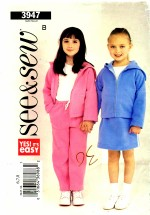 See & Sew 3947 Sewing Pattern Girls Jacket Skirt Pants Size 6 - 7 - 8