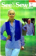 Fitted Vest Front Button Blouse Size 10 See & Sew 6599 Sewing Pattern