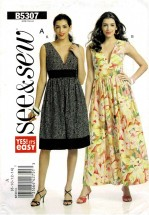 Misses Sleeveless V-Neck Flared Skirt Midriff Dress Butterick See & Sew 5307 Sewing Pattern Size 8 - 10 - 12 - 14