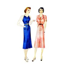 1930s Sun-Back Halter Dress and Jacket Simplicity 2659 Vintage Sewing Pattern Size 14 Bust 32