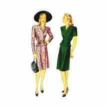 1940s Misses Dress Blouse Skirt Simplicity 1017 Vintage Sewing Pattern Size 14 Bust 32
