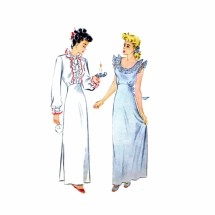 1940s High Waist Nightgown Simplicity 1136 Vintage Sewing Pattern Size 14 Bust 32
