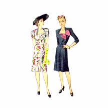 1940s Draped Sleeves Portrait Neckline Day Dress Simplicity 4974 Vintage Sewing Pattern Size 14 Bust 32
