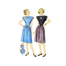 1940s Simplicity 1738 Keyhole Peplum Dress Vintage Sewing Pattern Size 13 Bust 31