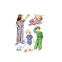 Girls Boys Pajamas Tops Bottoms Simplicity 2040 Vintage Sewing Pattern Size 4
