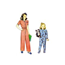 1940s Childs One Piece Pajamas Simplicity 2199 Vintage Sewing Pattern Size 2 Breast 21