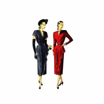 1940s Front Draped Dress Simplicity 2221 Vintage Sewing Pattern Bust 32