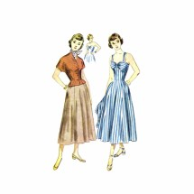 1940s Strapless Sunback Dress Jacket Simplicity 2880 Vintage Sewing Pattern Size 14 Bust 32