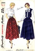 Vintage 1940's Simplicity 2944 Misses Blouse Skirt Bolero Size 14 - Bust 32