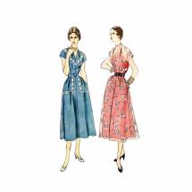 1950s Misses V-Neckline Dress Simplicity 3203 Vintage Sewing Pattern Size 16 Bust 34