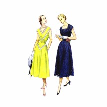 1950s Square Neckline Flared Dress Simplicity 3237 Vintage Sewing Pattern Size 16 1/2 Bust 35