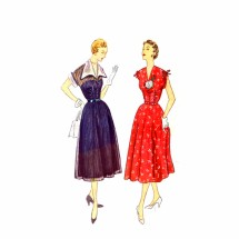 1950s Misses V-Neckline Dress Simplicity 3262 Vintage Sewing Pattern Size 14 Bust 32