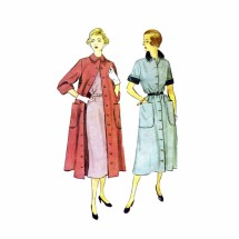 1950s Coat Dress and Duster Detachable Collar and Cuffs Simplicity 3409 Vintage Sewing Pattern Size 14 Bust 32