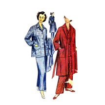 1950s Misses Pajamas and Robe Simplicity 3651 Vintage Sewing Pattern Size 12 Bust 30