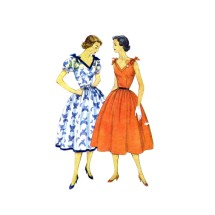 1950s V-Neckline Full Skirt Dress Simplicity 3890 Vintage Sewing Pattern Size 16 Bust 34