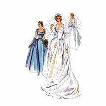 1950s Bridal Gown Bridesmaid Dress Headdress Veil Mitts Simplicity 4084 Vintage Sewing Pattern Size 12 Bust 30
