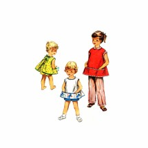 NOT LISTED MISSING PIECE 1950 Toddler Girls Apron Shorts Slacks Simplicity 4384 Vintage Sewing Pattern Size 1