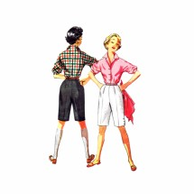 1950s Simplicity 4746 Vintage Sewing Pattern Blouse and Shorts Size 11 Bust 29