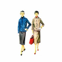 1950s Misses Two-Piece Suit Skirt Jacket Simplicity 4871 Vintage Sewing Pattern Size 12 Bust 30