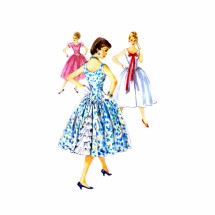 1950s Ruffled Underlay Full Skirt Party Dress Simplicity 1415 Vintage Sewing Pattern Size 11 Bust 29